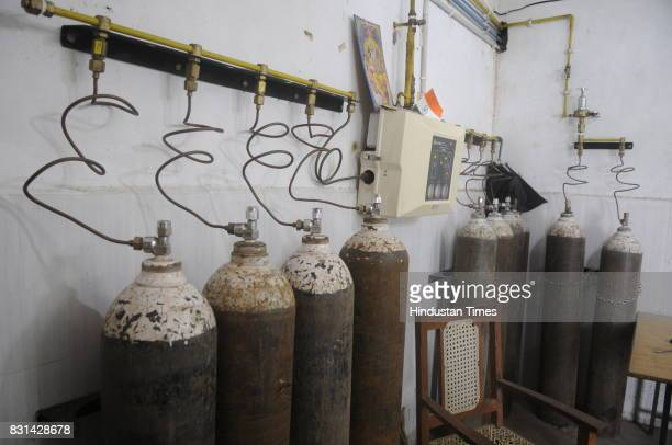 Oxygen cylinder beside PICU ward at Babu Mohan Singh district hospital on August 14 2017 in Deoria India More than 60 children have reportedly died...