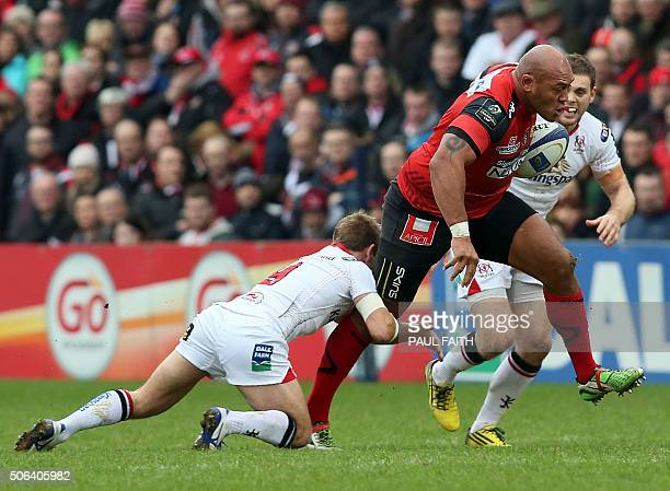 TOPSHOT Oyonnax's Tongan prop Soane Tonga'uiha shakes off a tackle during the European Rugby Champions Cup pool 1 rugby union match between Ulster...