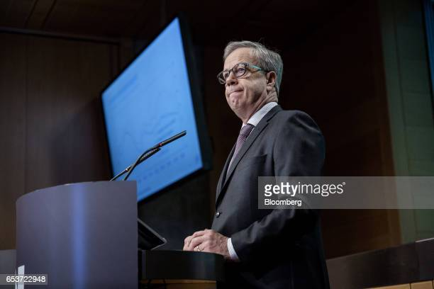 Oystein Olsen governor of Norway's central bank also known as Norges Bank speaks during an interest rates news conference in Oslo Norway on Thursday...