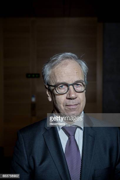 Oystein Olsen governor of Norway's central bank also known as Norges Bank poses for a photograph following an interest rates news conference in Oslo...
