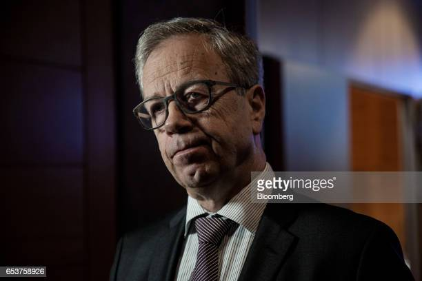 Oystein Olsen governor of Norway's central bank also known as Norges Bank speaks during a Bloomberg Television interview following an interest rates...