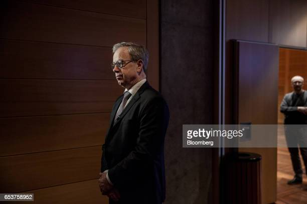 Oystein Olsen governor of Norway's central bank also known as Norges Bank pauses during a Bloomberg Television interview following an interest rates...