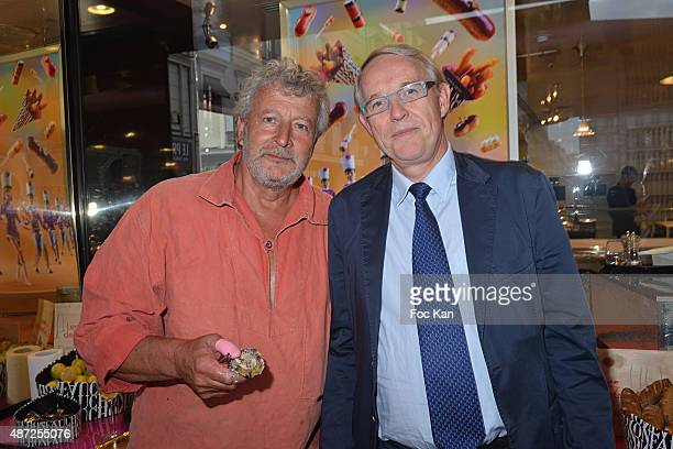 Oyster farmer Joel Dupuch and Grande Epicerie Fauchon CEO Frederic Verbrugghe attend the Fauchon Afterwork Rentree du Cap Ferret at Fauchon Madeleine...
