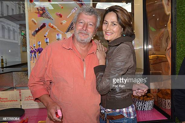 Oyster farmer Joel Dupuch and TV presenter Delphine Malachard de Turckheim attend the Fauchon Afterwork Rentree du Cap Ferret at Fauchon Madeleine on...