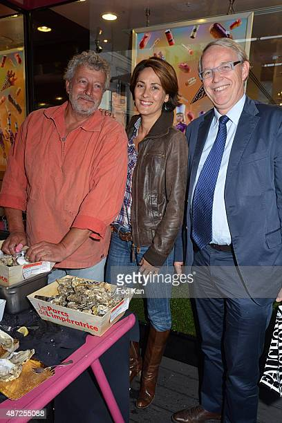Oyster farmer Joel Dupuch TV presenter Delphine Malachard de Turckheim and Grande Epicerie Fauchon CEO Frederic Verbrugghe attend the Fauchon...