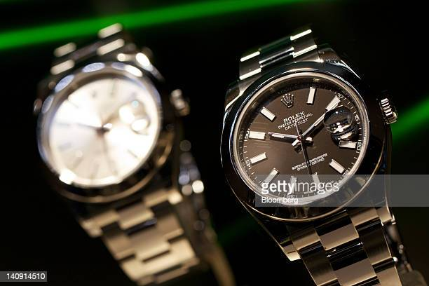 'Oyster Perpetual Datejust' wristwatches manufactured by Rolex sit on during the Baselworld watch fair in Basel Switzerland on Wednesday March 2012...