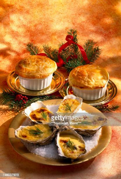 Oyster soup sealed with pastry and hot oysters with Champagne zabaglione