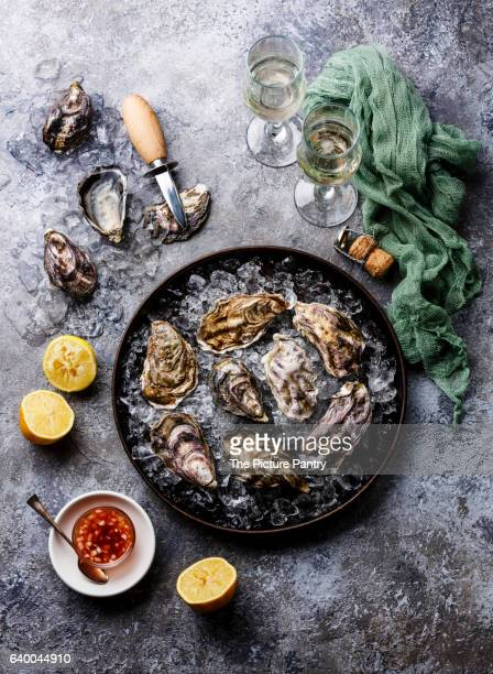 Oysters in plate with spicy sauce and champagne on stone texture background