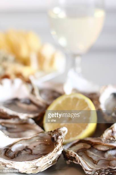 Oysters, lemon, cheese and white wine glass