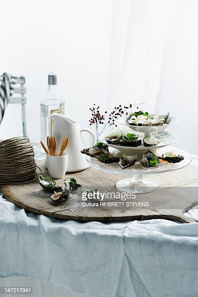Oysters on serving tray