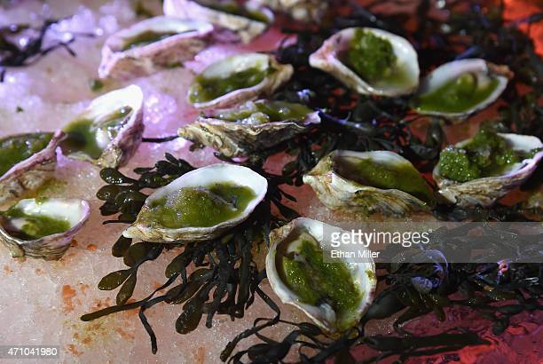 Oysters on the half shell with trio of frozen granitas are served at the Border Grill booth during Vegas Uncork'd by Bon Appetit's Grand Tasting...