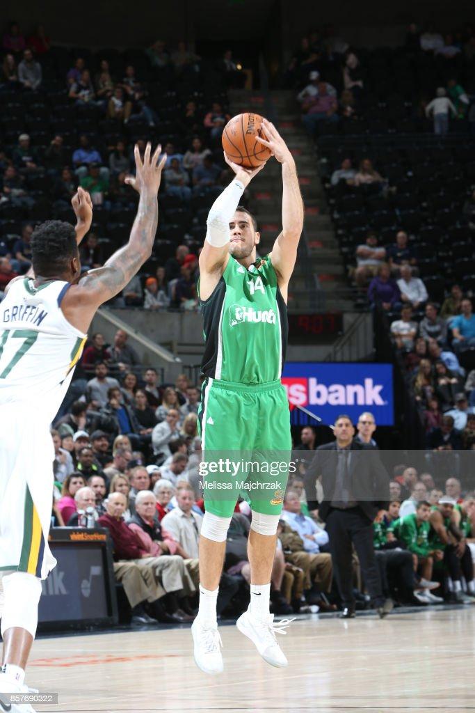 Oz Blayzer #14 of the Maccabi Haifa shoots the ball against the Utah Jazz during a preseason game on October 4, 2017 at vivint.SmartHome Arena in Salt Lake City, Utah.