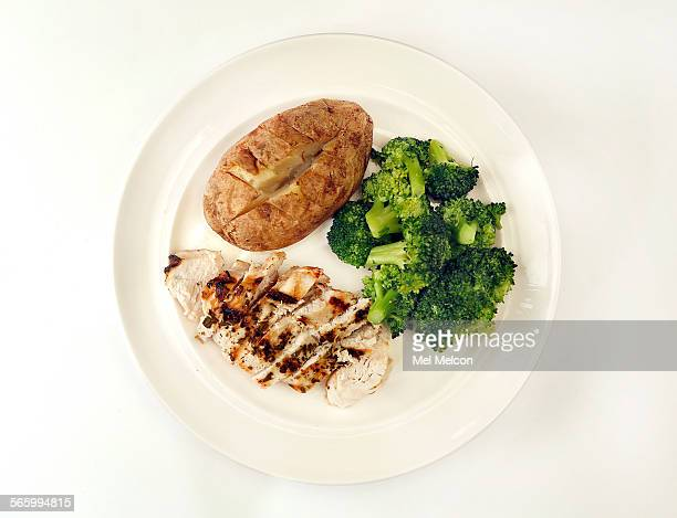 A 3 oz boneless skinless chicken breast grilled 128 calories 1 medium baked potato 168 calories a pat of butter 1' sq 1/3' high 36 calories and 1 cup...