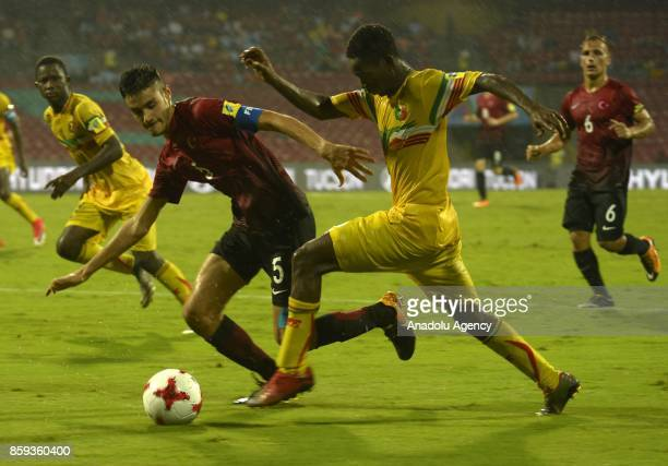 Ozan Muhammed Kabak of Turkey is in action against Djemoussa Traore of Mali during the ceremony within a 2017 FIFA U17 World Cup football match...