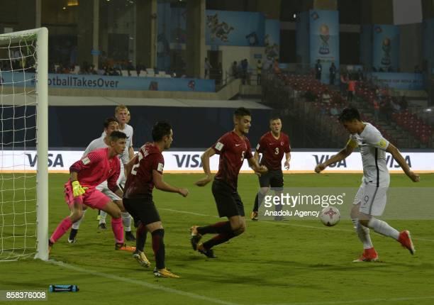 Ozan Muhammed Kabak of Turkey U17 in action against Max Mata of New Zealand U17 during the FIFA U17 World Cup India 2017 football match between...