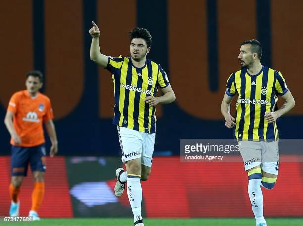 Ozan Tufan of Fenerbahce celebrates after scoring a goal during the Ziraat Turkish Cup semi final soccer match between Medipol Basaksehir and...