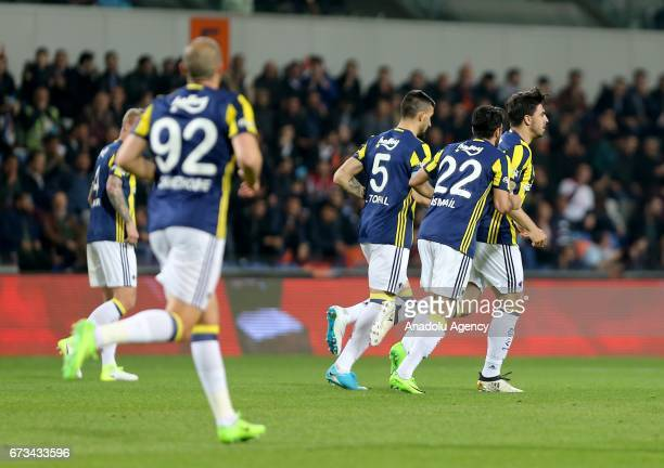 Ozan Tufan of Fenerbahce celebrates with his team mates after scoring a goal during the Ziraat Turkish Cup semi final soccer match between Medipol...
