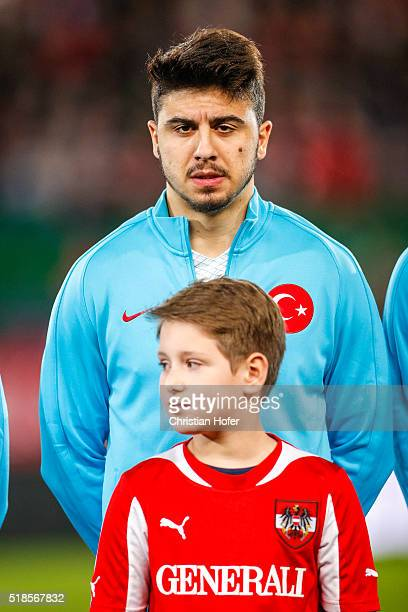 Ozan Tufan of Turkey lines up during the national anthem prior to the international friendly match between Austria and Turkey at ErnstHappelStadium...