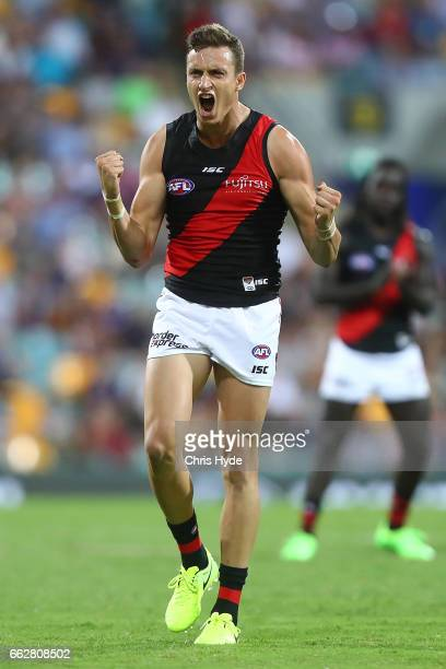 Ozario Fantasia of the Bombers celebrates a goal during the round two AFL match between the Brisbane Lions and the Essendon Bombers at The Gabba on...