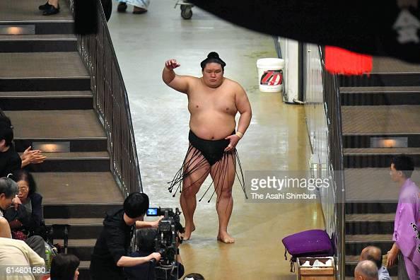 Ozeki Goeido enters during final day of the Grand Sumo Autumn Tournament at Ryogoku Kokugikan on September 25 2016 in Tokyo Japan