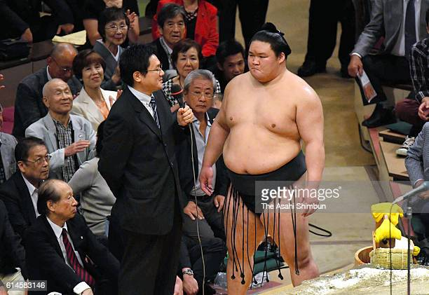 Ozeki Goeido is interviewed after winning the tournament during final day of the Grand Sumo Autumn Tournament at Ryogoku Kokugikan on September 25...