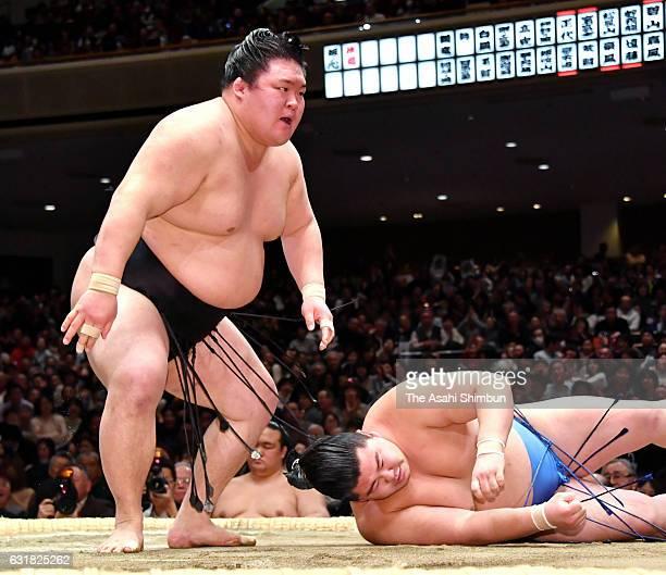 Ozeki Goeido reacts after his win over sekiwake Shodai during day seven of the Grand Sumo New Year Tournament at Ryogoku Kokugikan on January 14 2017...