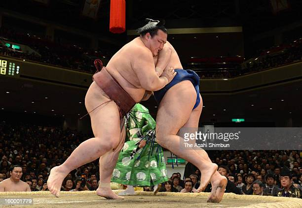 Ozeki Kisenosato and Mongolian ozeki Kakuryu whose real name is Mangaljalavyn Anand compete during day 12 of the Grand Sumo New Year Tournament at...