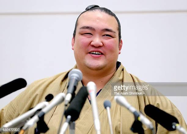 Ozeki Kisenosato attends a press conference after the Yokozuna Deliberation Council recommended the Japan Sumo Association to promote him to yokozuna...
