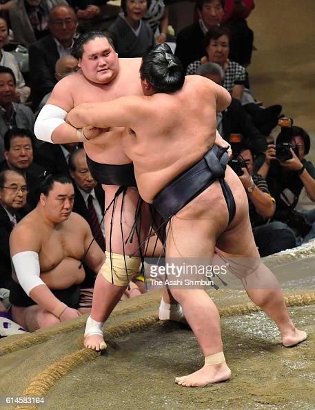 Ozeki Kisenosato pushes Mongolian ozeki Terunofuji out of the ring to win during final day of the Grand Sumo Autumn Tournament at Ryogoku Kokugikan...