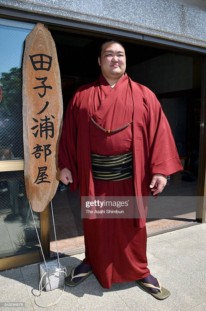 Ozeki Kisenosato speaks during a press conference after the new Sumo ranking announced at an accommodation of Tagonoura Stable ahead of the Grand Sumo Nagoya Tournament on June 27, 2016 in Nagakute, Aichi, Japan.