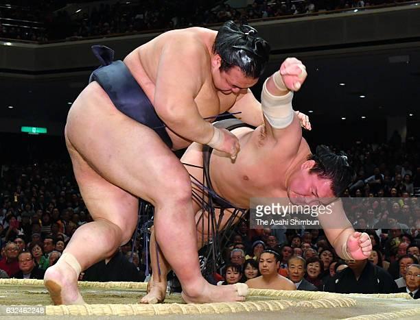 Ozeki Kisenosato throws Mongolian yokozuna Hakuho to win during day fifteen of the Grand Sumo New Year Tournament at Ryogoku Kokugikan on January 22...