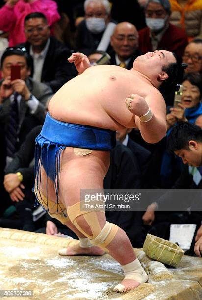 Ozeki Kotoshogiku prepares for his bout against Mongolian yokozuna Harumafuji during day twelve of the Grand Sumo New Year Tournament at Ryogoku...