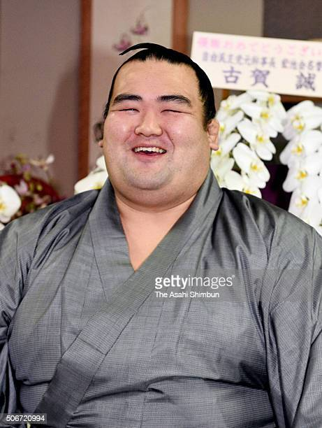 Ozeki Kotoshogiku smiles during a press conference a day after winning the Grand Sumo New Year Tournament at Sadogatake Stable on January 25 2016 in...