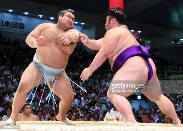 Ozeki Takayasu and Takakeisho compete during day five of the Grand Sumo Nagoya Torunament at Aichi Prefecture Gymnasium on July 13 2017 in Nagoya...