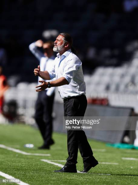 Ozkan Melkemichel head coach of Djurgardens IF during the Allsvenskan match between Djurgardens IF and Ostersunds FK at Tele2 Arena on July 23 2017...