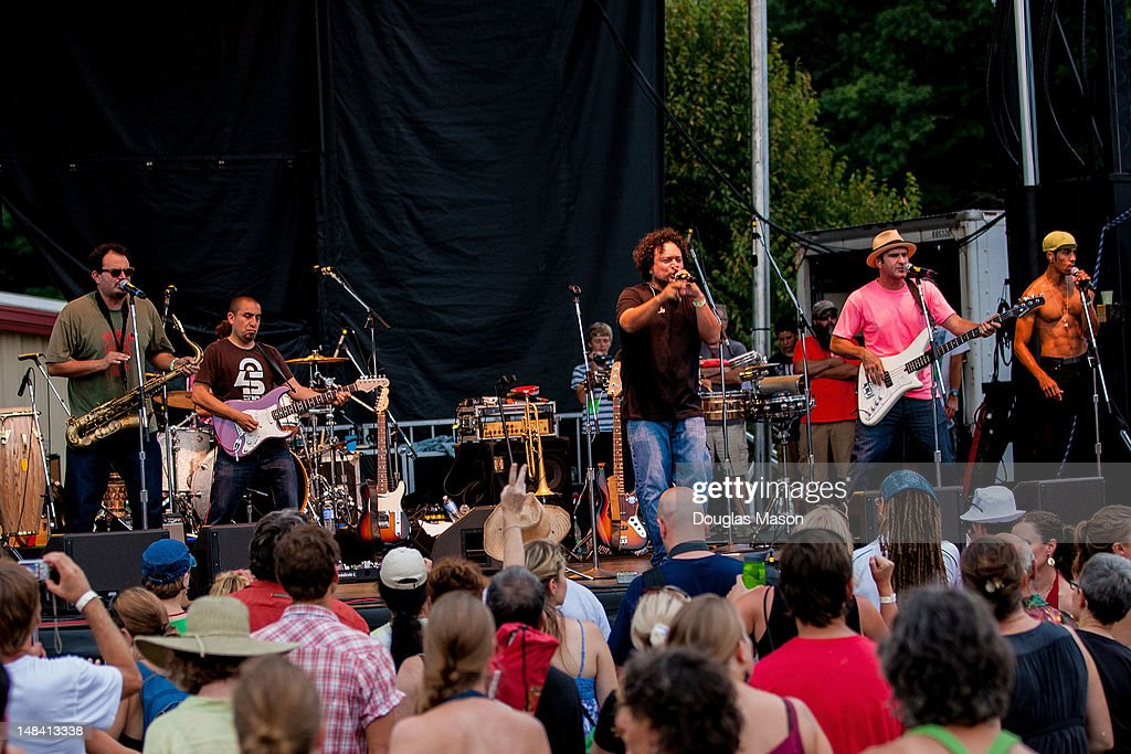 Ozomatli Ulises Bella Dave Shul Asdru Sierra WilDog Abers and Justin Poree perform at the 2012 Green River Festival at Greenfield Community College...
