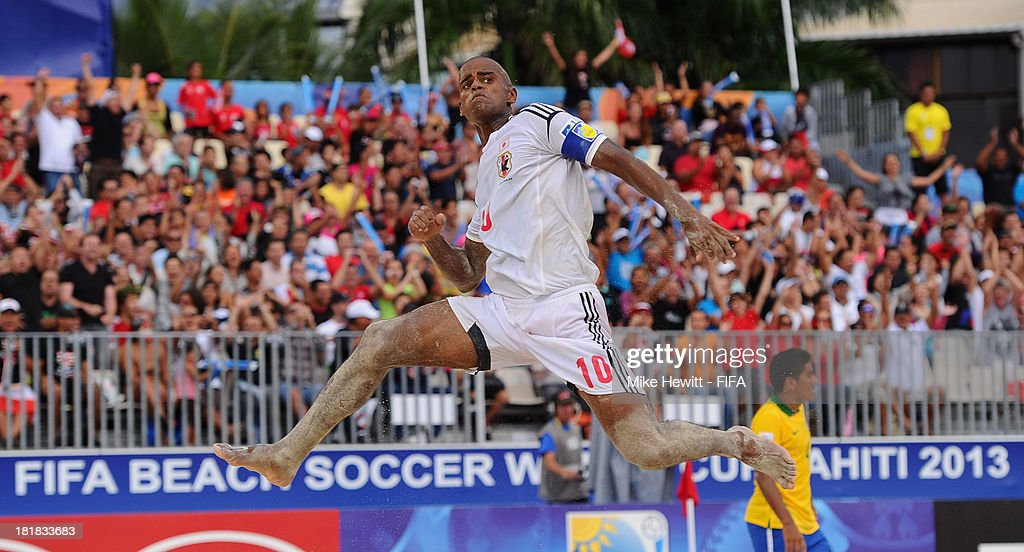 Ozu Moreira of Brazil celebrates Japan's third goal during the FIFA Beach Soccer World Cup Tahiti 2013 Quarter Final match between Brazil and Japan at the Tahua To'ata Stadium on September 25, 2013 in Papeete, French Polynesia.