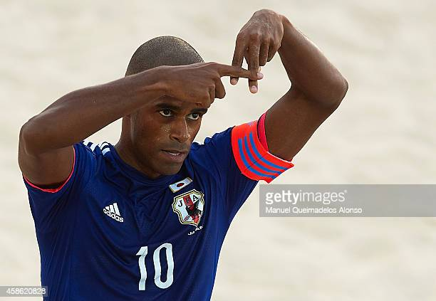 Ozu Moreira of Japan celebrates after scoring during day five of the Beach Soccer Intercontinental Cup 2014 match between Japan and USA at Dubai...