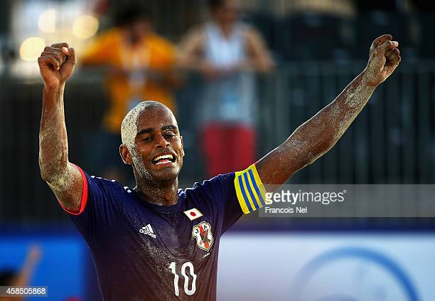 Ozu Moreira of Japan celebrates during day three of the Samsung Beach Soccer Intercontinental Cup 2014 match between Japan and the United States at...