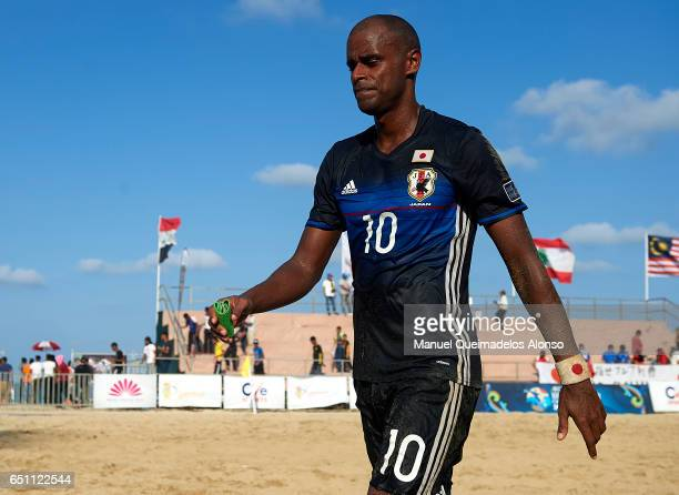 Ozu Moreira of Japan leaves the pitch after losing during day six of the AFC Beach Soccer Championship 2017 match between Japan and Iran at Primula...