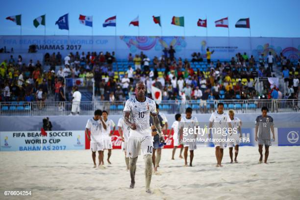 Ozu Moreira of Japan looks dejected after defeat after the FIFA Beach Soccer World Cup Bahamas 2017 group D match between Brazil and Japan at...
