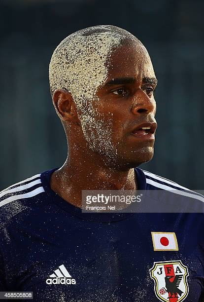 Ozu Moreira of Japan looks on during day three of the Samsung Beach Soccer Intercontinental Cup 2014 match between Japan and the United States at...