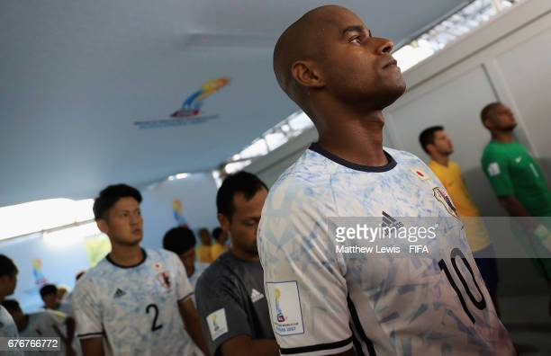 Ozu Moreira of Japan waits in the tunnel ahead of the FIFA Beach Soccer World Cup Bahamas 2017 group D match between Braziland Japan at the National...