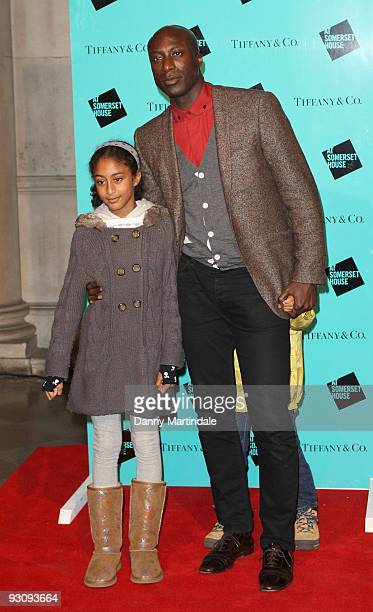 Ozwald Boateng with his children attend the VIP opening of Skate at Somerset House hosted by Tiffany and Co at Somerset House on November 16 2009 in...