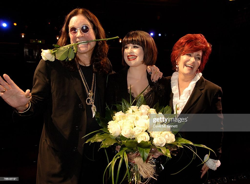 Ozzy, Kelly and Sharon Osbourne pose backstage following Kelly Osbourne's first night as she takes over as Mama Morton in the show Chicago, at the Cambridge Theatre on September 10, 2007 in London, England.