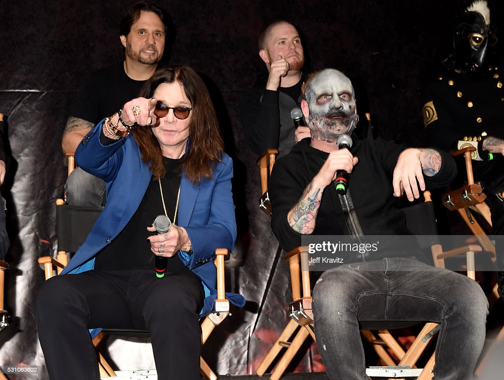Ozzy Osbourne and Corey Taylor from Slipknot attend the Ozzy Osbourne and Corey Taylor Special Announcement on May 12, 2016 in Hollywood, California.