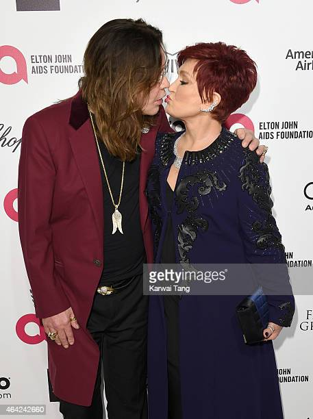 Ozzy Osbourne and Sharon Osbourne attend the Elton John AIDS Foundation's 23rd annual Academy Awards Viewing Party at The City of West Hollywood Park...
