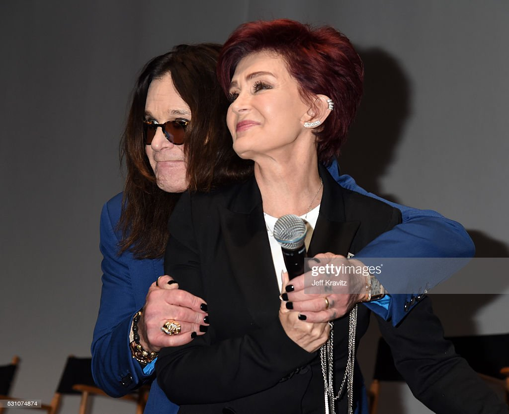 Ozzy Osbourne and Sharon Osbourne attend the Ozzy Osbourne and Corey Taylor Special Announcement on May 12, 2016 in Hollywood, California.