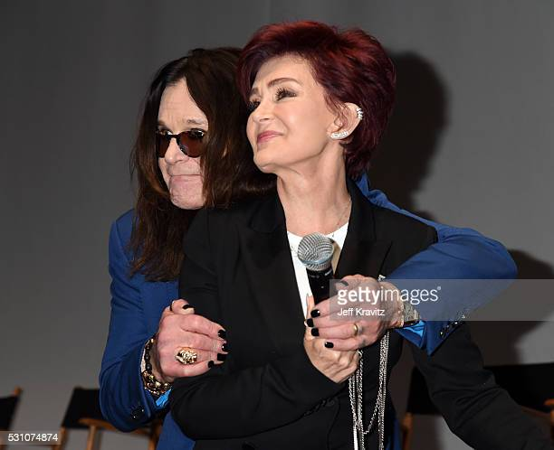 Ozzy Osbourne and Sharon Osbourne attend the Ozzy Osbourne and Corey Taylor Special Announcement on May 12 2016 in Hollywood California