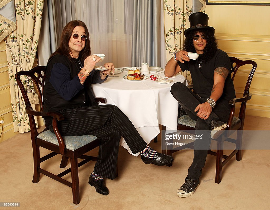 Ozzy Osbourne and Slash have high tea on November 03, 2008 in London, England. Slash will present Ozzy with a living legend award at the Classic Rock and Roll Honour Awards to be held at the Park Lane Hotel on the 3rd of November.
